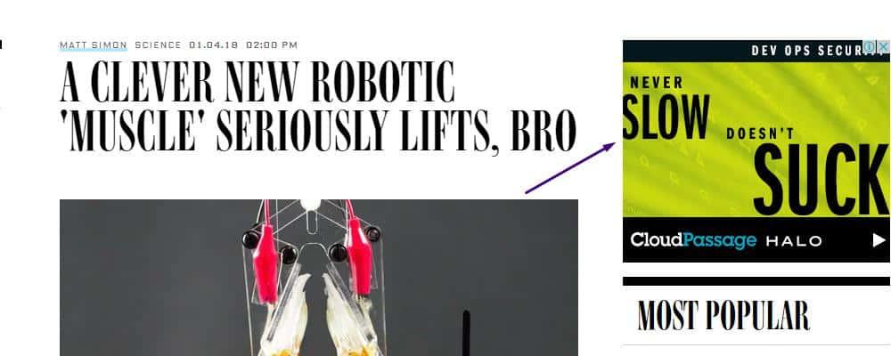 ad on website