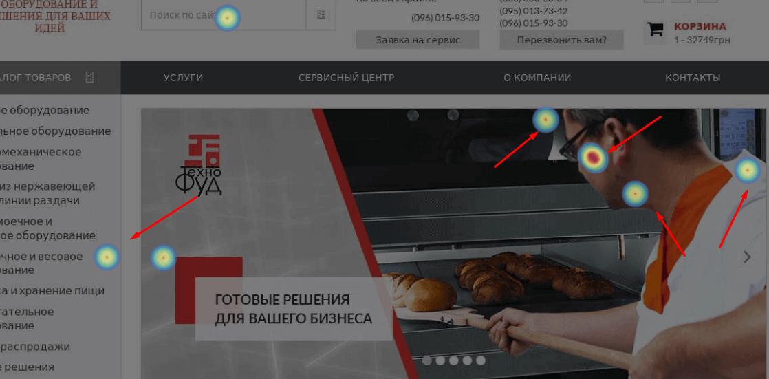 Смещение кликов на сайте
