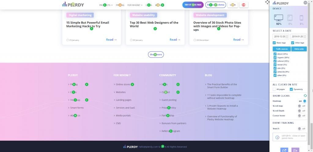 Автоматическая настройка записи всех кликов на страницах сайта