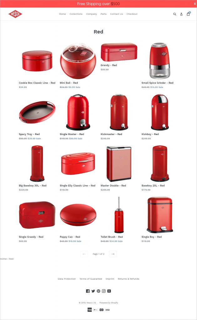 Каталог продукции после проведения аудита: все товары перекрашены в красный цвет.