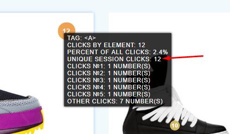 Запись кликов по уникальным сессиям