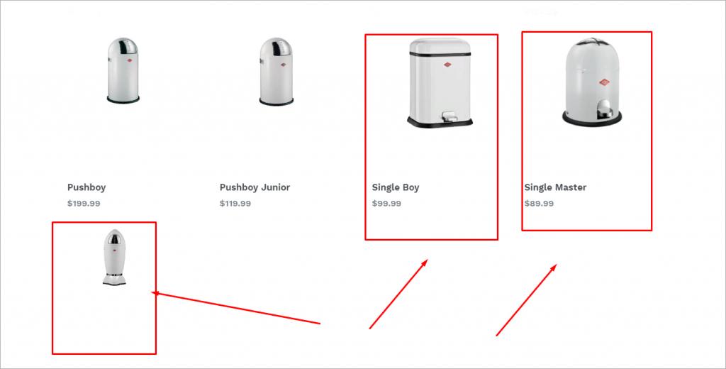 Проблемы с размером изображений в одном из разделов каталога.