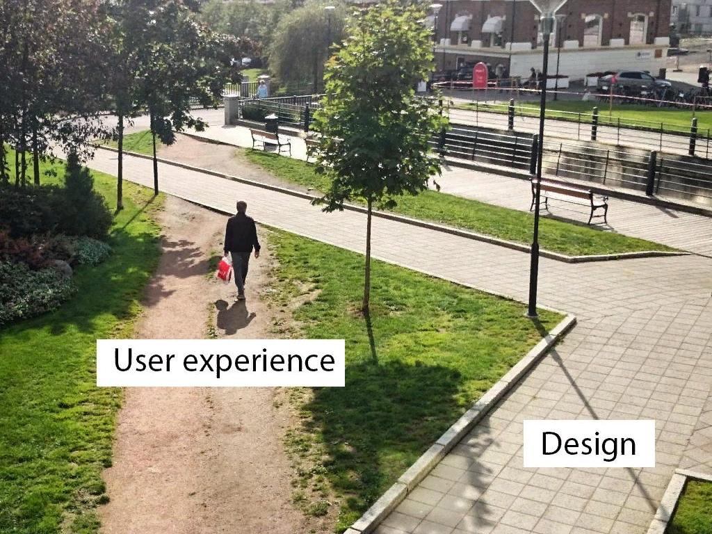 Разница между UI и UX на примере пешеходных дорожек.