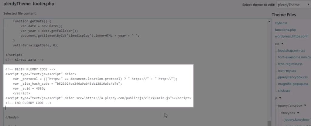 plerdy script installation wordpress 6