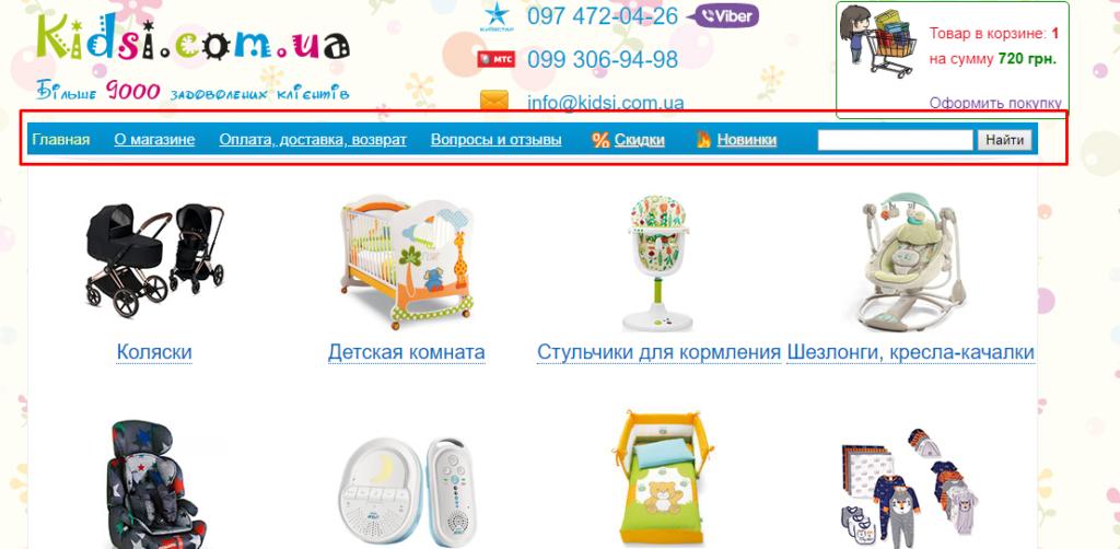 ЮЗАБИЛИТИ АУДИТ САЙТА kidsi.com.ua