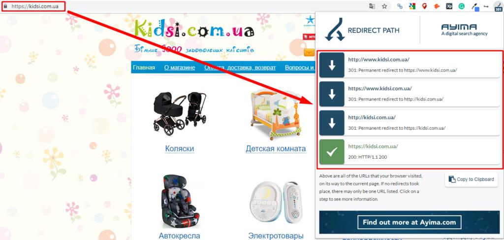 Проверка правильности настройки основного зеркала и единого формата URL